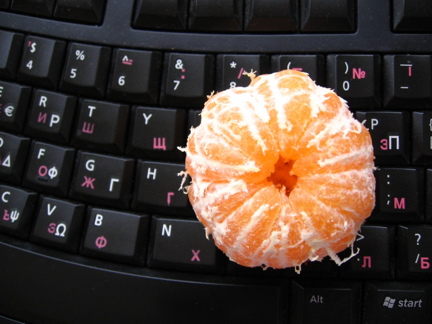 mandarine-on-keyboard